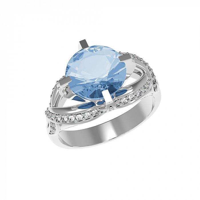 Серебряное кольцо Нинель с голубым кварцем и фианитами 000079723