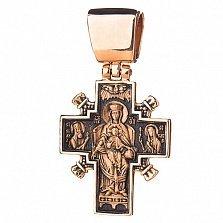Золотой крест с чернением Святое семейство