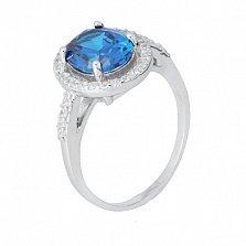 Серебряное кольцо Девика с голубым и белыми фианитами