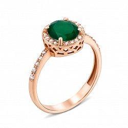 Кольцо из красного золота с агатом и фианитами 000135340