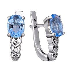 Серебряные серьги Гелена с синим кварцем и белыми фианитами