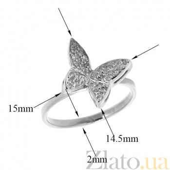 Золотое кольцо в белом цвете с бриллиантами Эффект бабочки 000021498