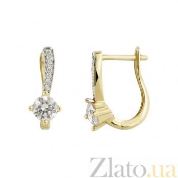 Золотые серьги с цирконием Карен 2С304-0077
