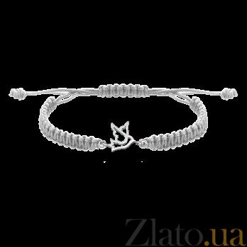 Детский плетеный браслет Птица с серебряной вставкой 12х12см 000080593