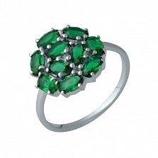 Серебряное кольцо Николь с синтезированными изумрудами