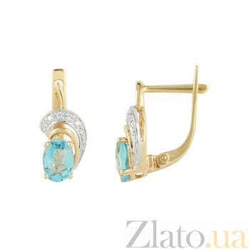 Золотые серьги с топазами и бриллиантами Милдред 1С562-0078