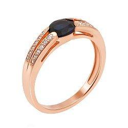 Золотое кольцо в красном цвете с сапфиром и бриллиантами 000117340
