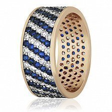 Серебряное кольцо с фианитами Нилам