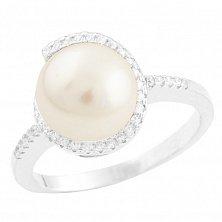 Серебряное кольцо Джози с жемчугом и фианитами