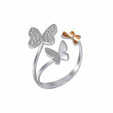Серебряное разомкнутое кольцо Три бабочки с золотой накладкой и фианитами