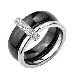 Кольцо из черной керамики и серебра с фианитами 000131763