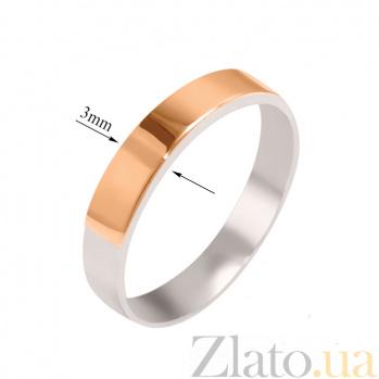 Серебряное кольцо с золотой вставкой Обручка, 3мм 000013239
