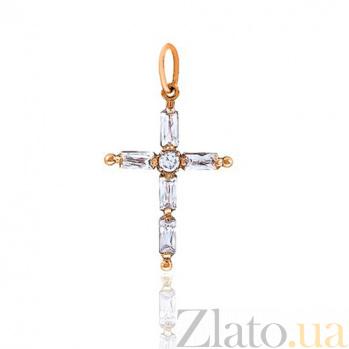 Золотой крестик с цирконием Солнце EDM--КР043