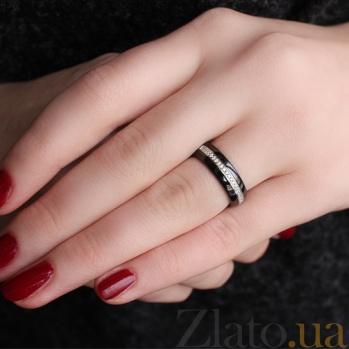 Керамическое кольцо с фианитами Зеркальный блеск 000025489