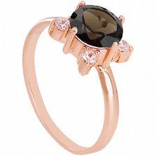 Золотое кольцо с раухтопазом и фианитами Ванда
