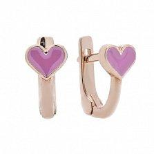 Детские серебряные серьги Сердце в позолоте с сиреневой эмалью