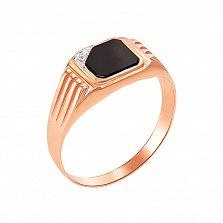 Перстень-печатка в красном и белом золоте Вашингтон с черным ониксом и фианитом