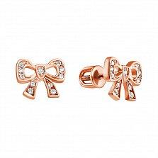 Золотые серьги-пуссеты с бриллиантами Бантик