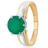 Золотое кольцо Гарнет с зеленым ониксом