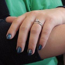 Серебряное кольцо Олимпия с разделяющейся шинкой и белыми фианитами