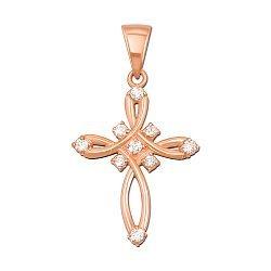 Декоративный крестик из красного золота с фианитами 000129602