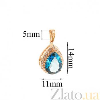 Золотой подвес Осанна с лондон топазом и цирконием 000045788