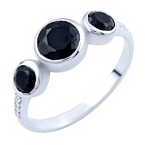 Серебряное кольцо Лилла с ониксом и фианитами