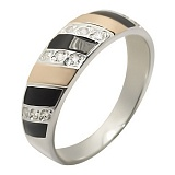 Серебряное кольцо с фианитами и золотой вставкой Дарина
