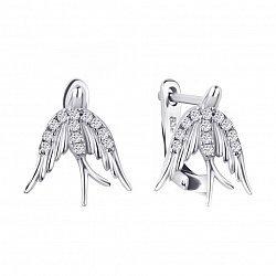 Серебряные серьги-ласточки Высота полета с фианитами
