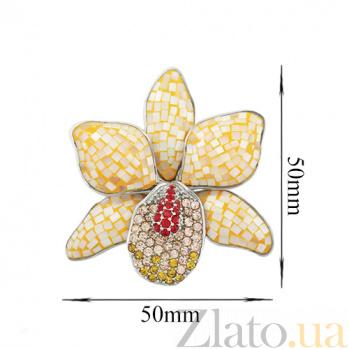 Серебряный подвес с эмалью, перламутром и кристаллами Swarovski Лилия 000026547