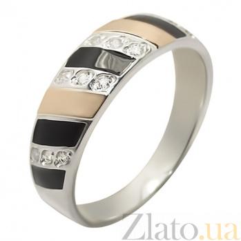Серебряное кольцо с фианитами и золотой вставкой Дарина BGS--614к