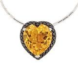 Золотая подвеска с цитрином и чёрными бриллиантами Серде