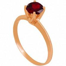 Золотое кольцо Фрейя с гранатом