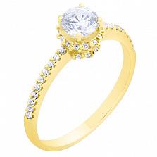 Золотое кольцо Пиргос с цирконием