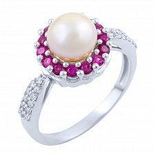 Серебряное кольцо Валентия с жемчугом, рубинами и фианитами