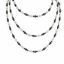 Многослойное ожерелье Триплекс с черным и белым жемчугом