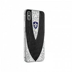 Apple IPhone X Noblesse SILVER CROCO  в черной коже и серебряными узорными вставками