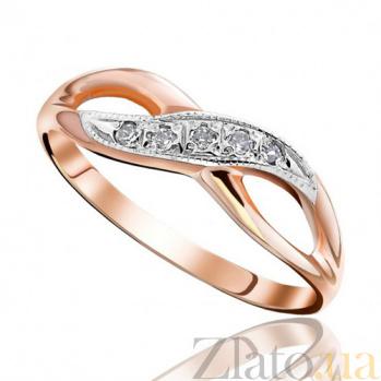 Золотое кольцо с цирконием Иллюзия бесконечности EDM--КД0186