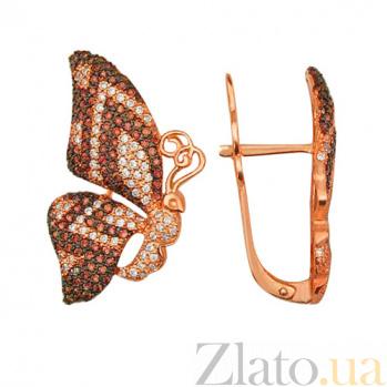 Серьги из красного золота с белыми и коньячными фианитами Бабочки VLT--ТТ288-3
