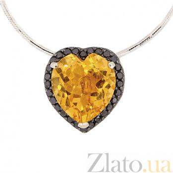 Золотая подвеска с цитрином и чёрными бриллиантами Серде ZMX--PCtDb-6657w_K