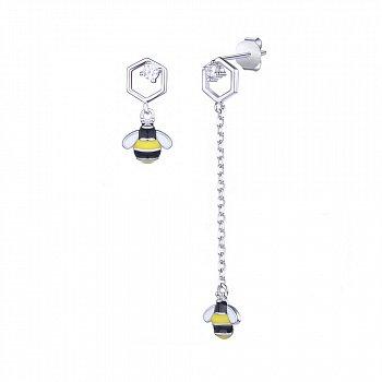 Серебряные ассиметричные серьги-подвески Пчелки и соты с фианитами, черной, желтой и белой эмалью  0