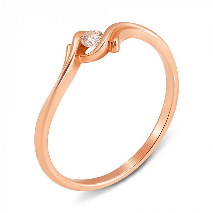 Кольцо из красного золота с бриллиантом 000137309 000137309