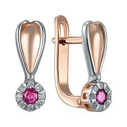 Золотые серьги в комбинированном цвете с рубином и бриллиантами 000150165