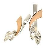 Серебряные серьги с золотыми вставками и фианитами Трилистник