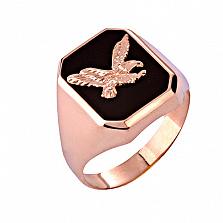 Золотое кольцо-печатка с ониксом Хищник