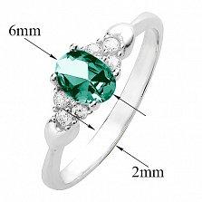 Серебряное кольцо Нюша с зеленым кварцем и белыми фианитами