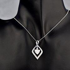 Золотой кулон Сатина в белом цвете с бриллиантами
