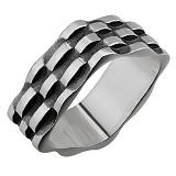 Серебряное чернёное кольцо Плетение