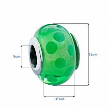 Серебряная бусина с муранским стеклом Любимый зеленый