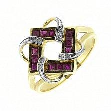 Золотое кольцо Вирджиния в желтом цвете с рубинами и бриллиантами